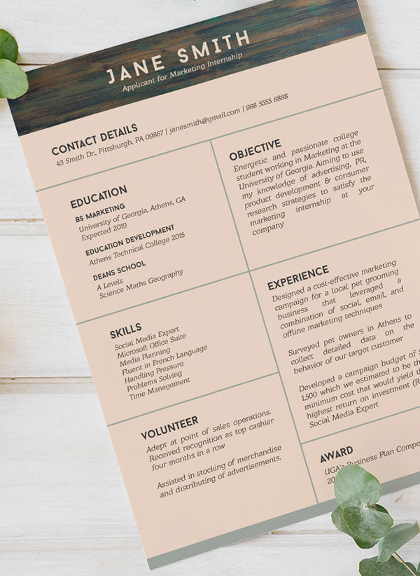 Free Resume Template for Internship Student