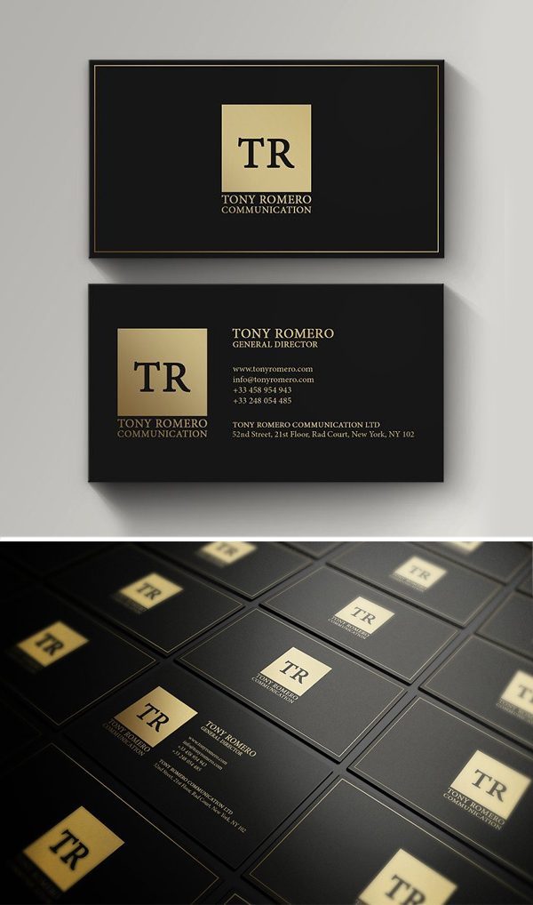 Minimal Gold And Black Business Card