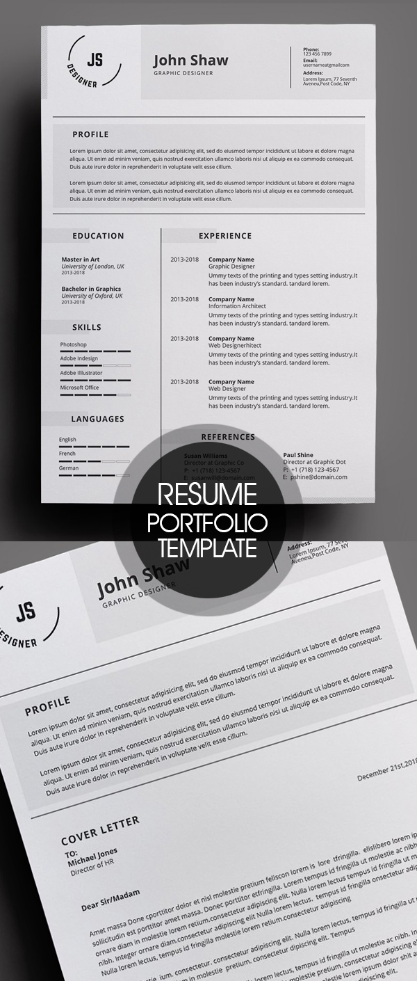 Resume and Portfolio Template 4 Pages #resumedesign