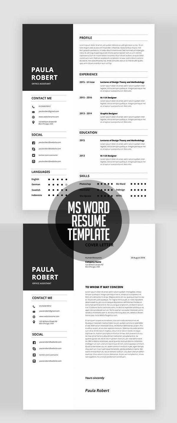 Ms Word Resume Templates #resumedesign