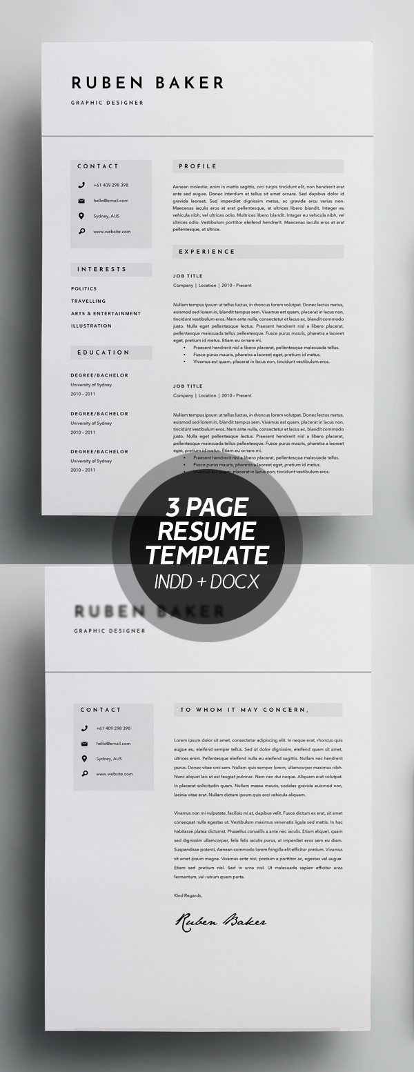 3 Page Resume Template - INDD + DOCX #resumedesign