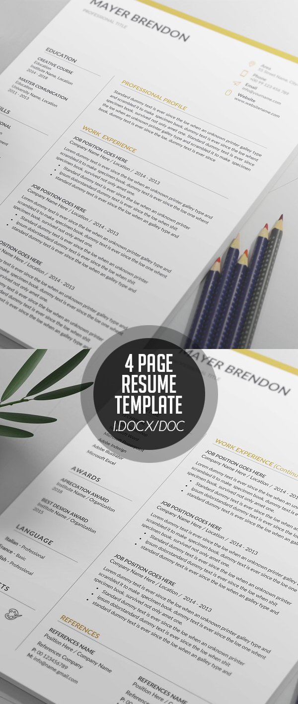 4 Page Resume/CV Template #resumedesign