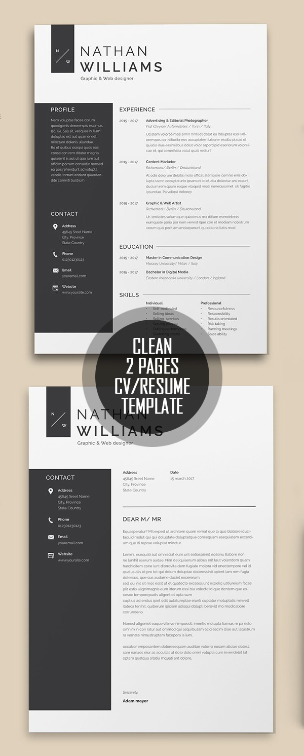 Clean 2 Pages Resume Template #resumedesign