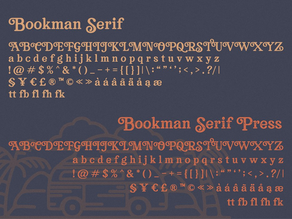 Bookman Font Collection Free font letters