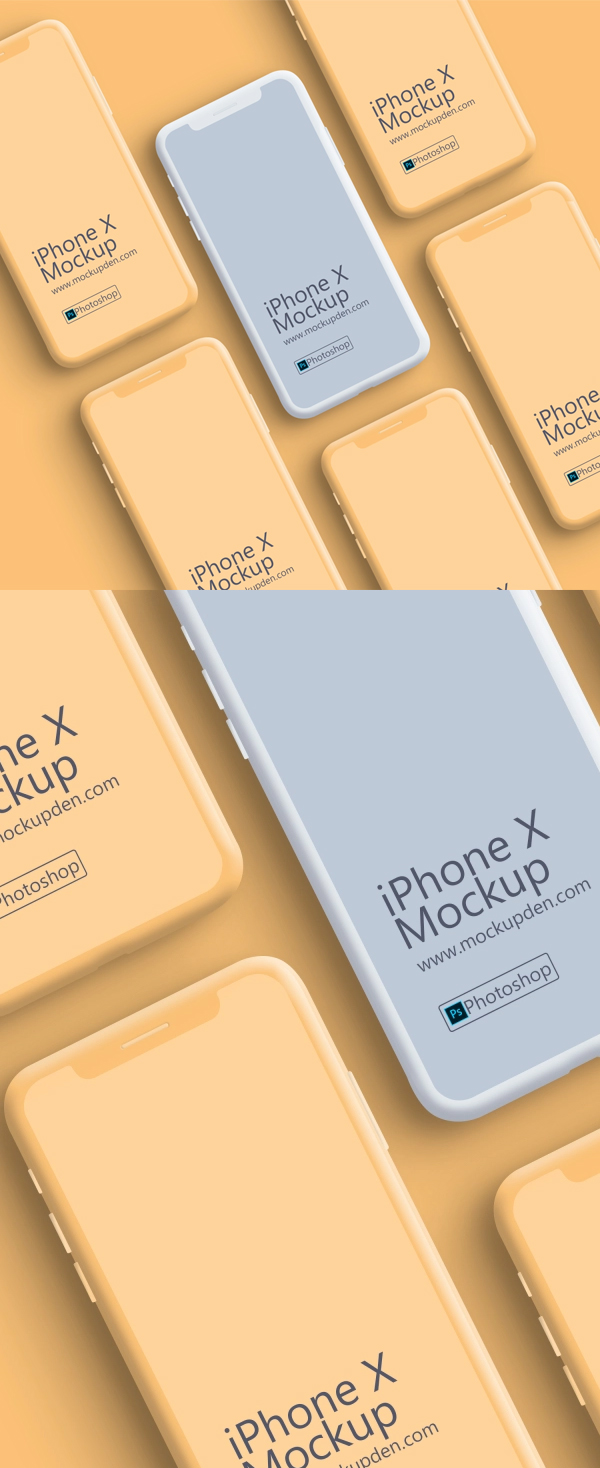 Free Clay iPhone X Device Mockup PSD