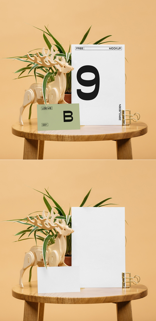 Free Realistic Cards on Table Mockup