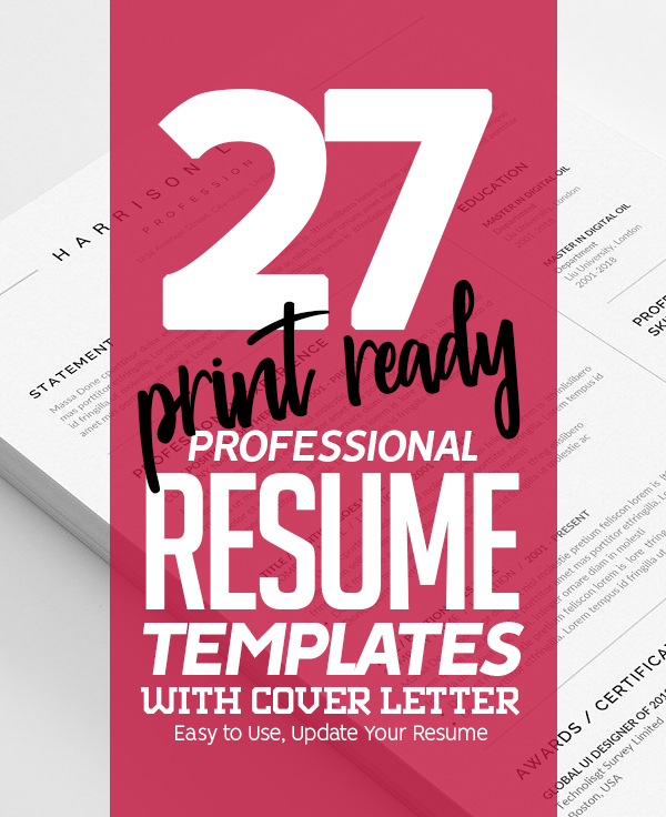 27 Professional Resume Templates with Cover Letters