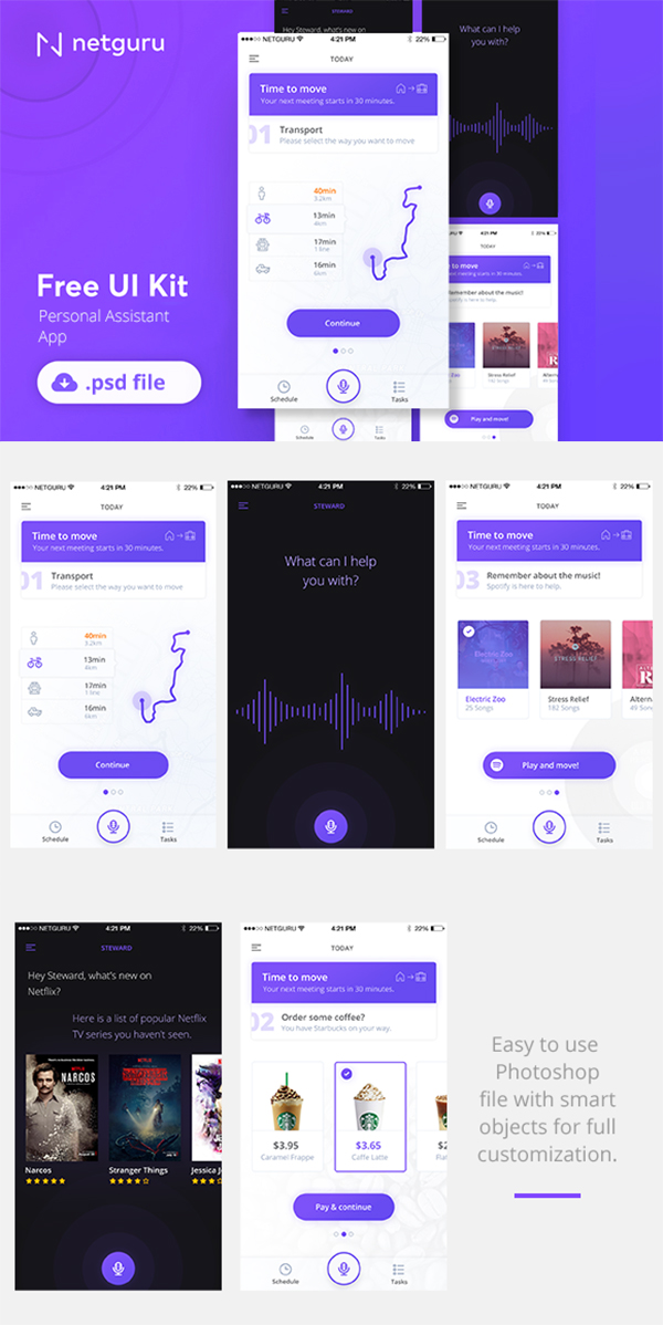 Personal Assistant App Free PSD Mockup