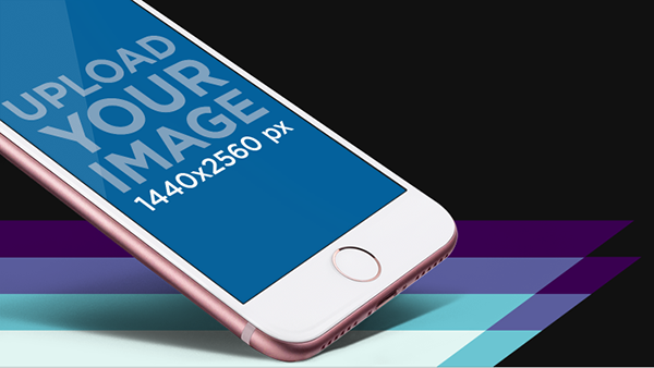 App store screenshot maker featuring the lower part of a rose gold iphone angled in portrait position