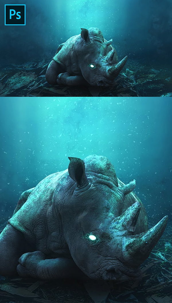 How to Make Glowing Rhino Undewater Photoshop Tutorial Manipulation Effects