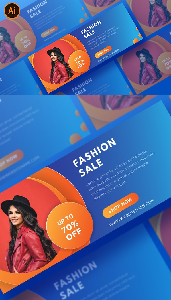 How to Create Simple Fashion Web Banner Design in Illustrator Tutorial