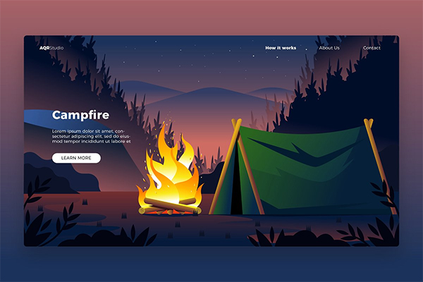 Campfire - Banner & Landing Page