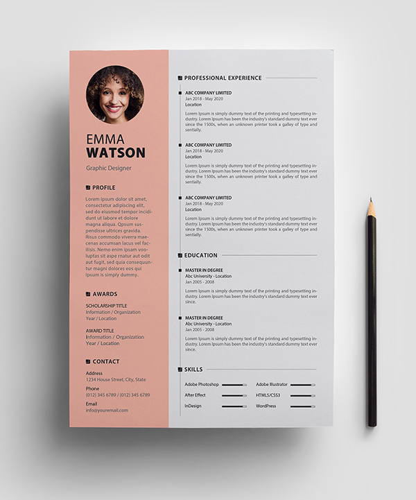 Free Resume Template PSD View - 1