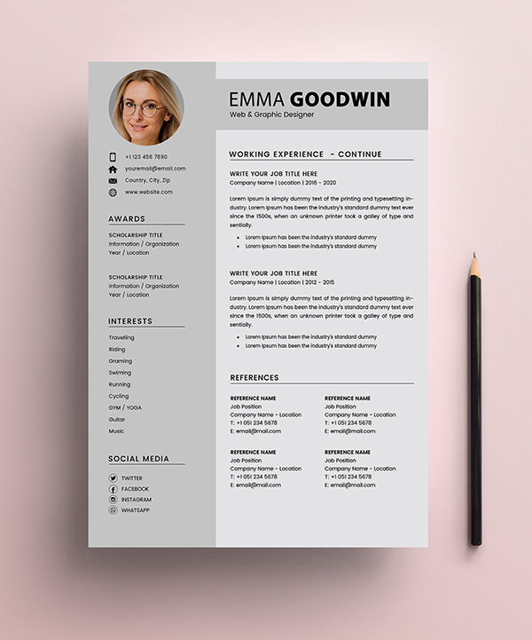 Free Resume 2 Page + Cover Letter Templates (PSD) - 2