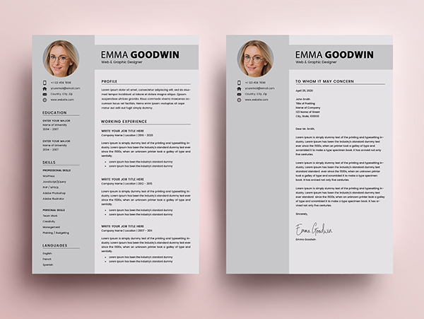 Free Resume 2 Page + Cover Letter Templates (PSD) - 6