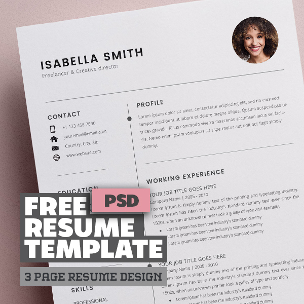 Free Resume Template 3 Page – CV Template