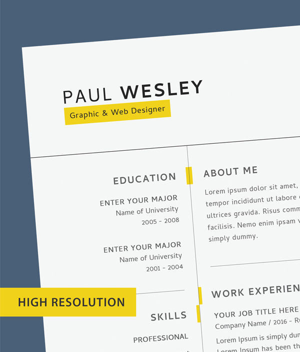 Free Resume Template & Cover Letter (PSD) + Business Card - 3