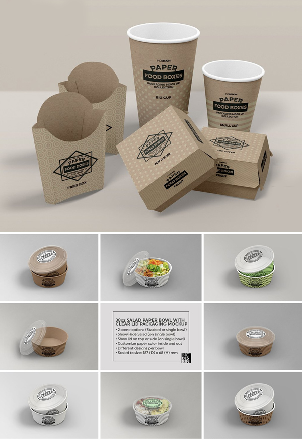 Paper Bowl with Clear Lids Mockup