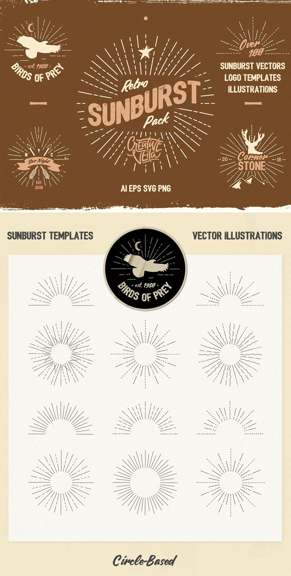 Vintage Glory: Sunburst Vector Set