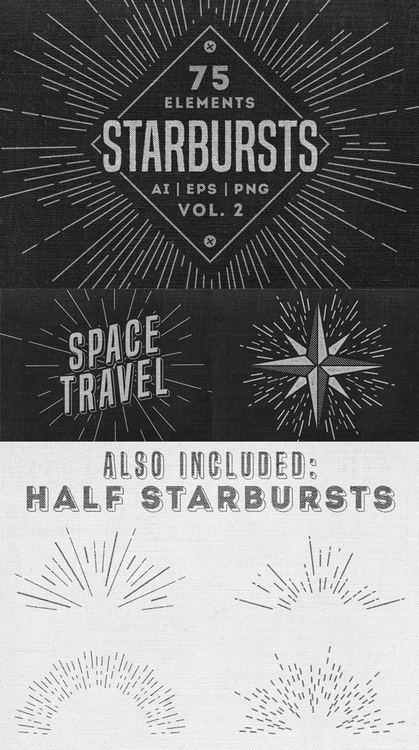 75 Retro Starbursts Elements