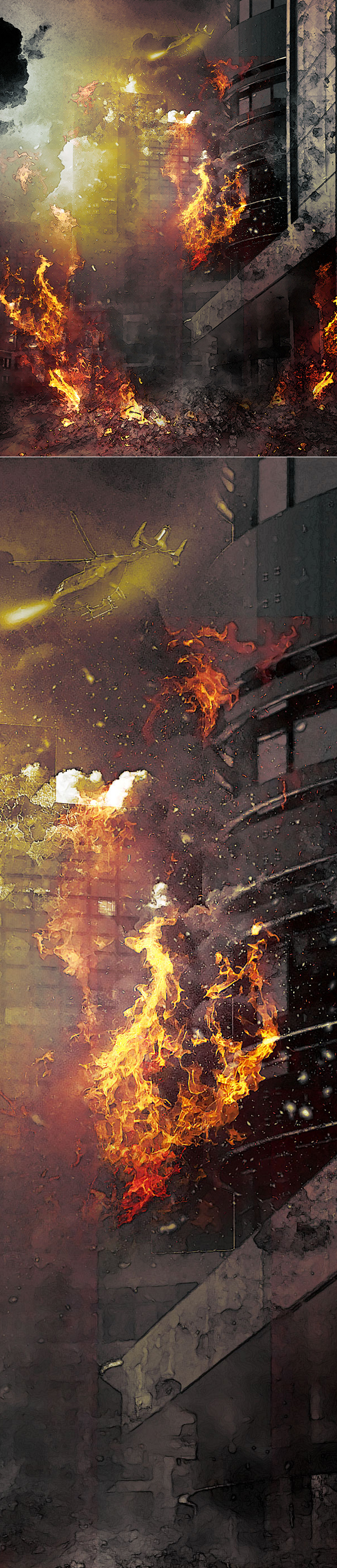 Create High-Rise Building on Fire Effect in Photoshop Tutorial