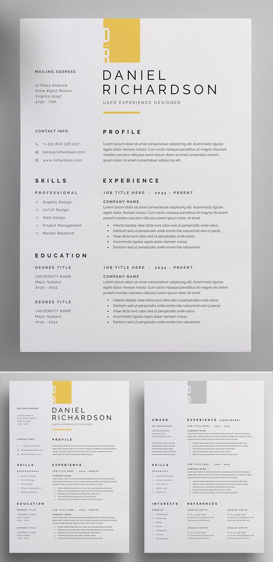 Modern and Professional Resume and Letterhead