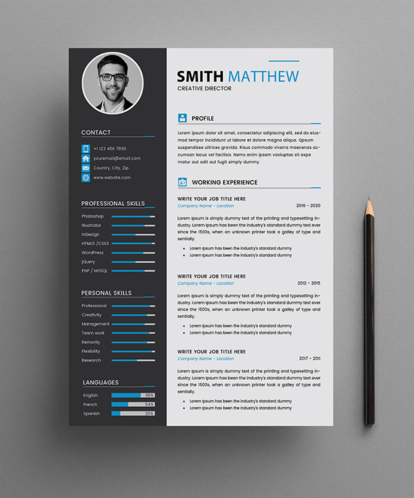 Free CV Resume Templates Page 1