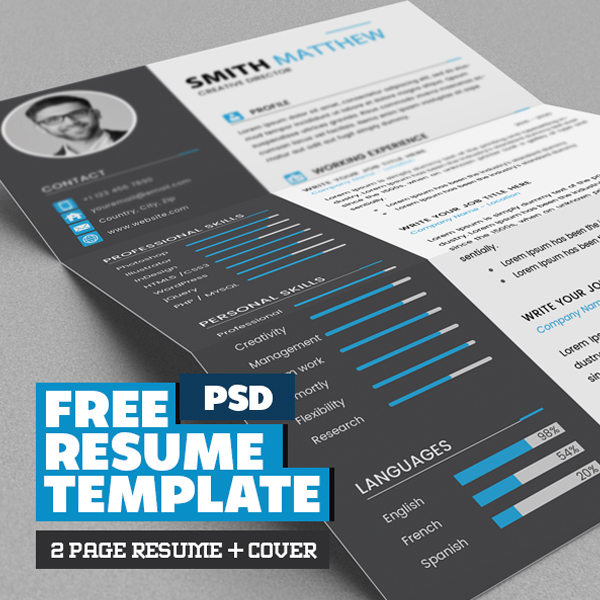 Free CV Resume Templates + Cover Letter (PSD)