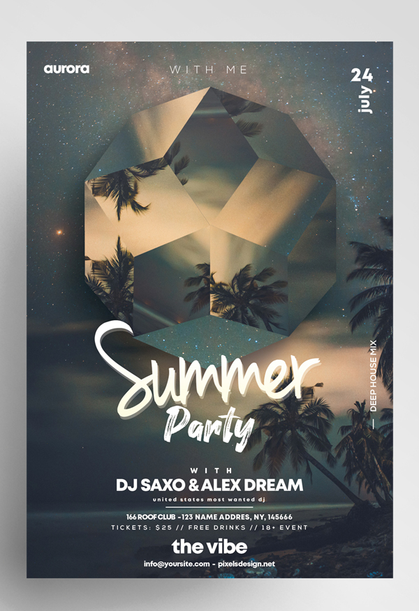 Free Summer Party Flyer Template Free Font