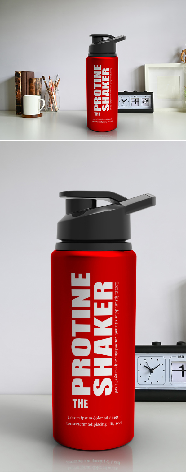 Free Red Metallic Protein Shaker Mockup PSD Template