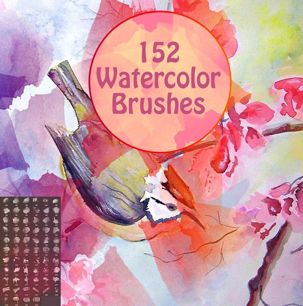 152 Watercolor Brushes for Photoshop
