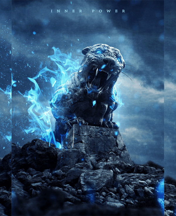How to Create an Intense Composite of a Stone Tiger with Blue Flames in Photoshop Tutorials