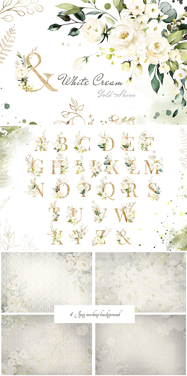 White Roses Watercolor Floral Set