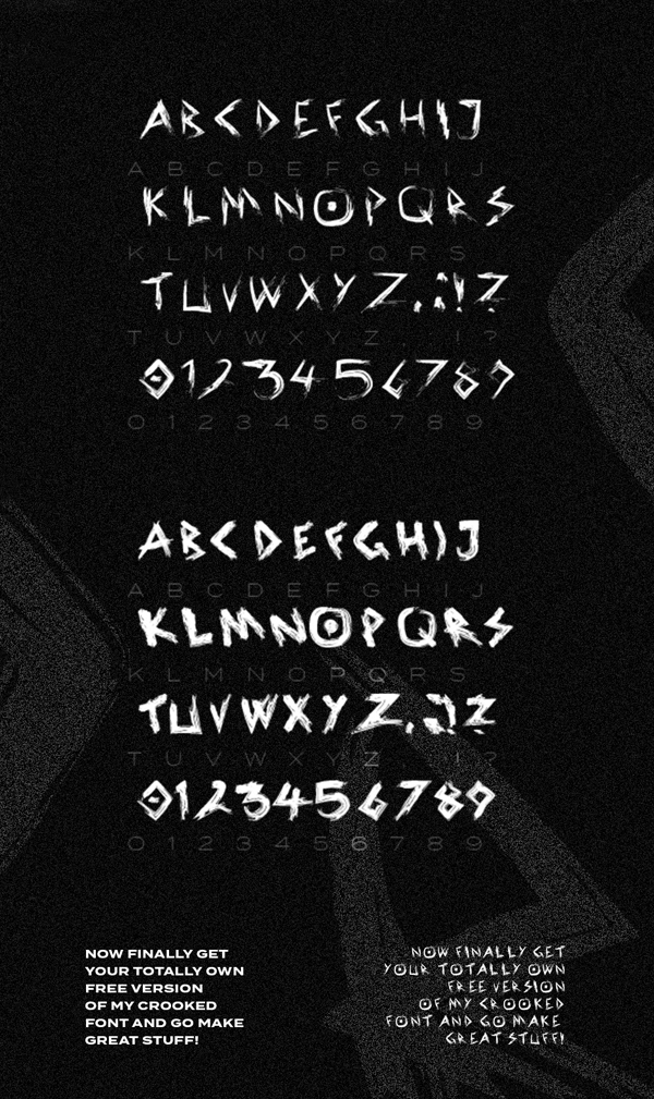 Crooked Free Font Letters
