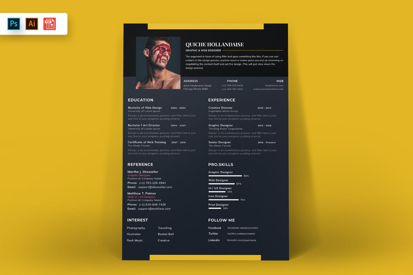 Resume Template Black and Yellow