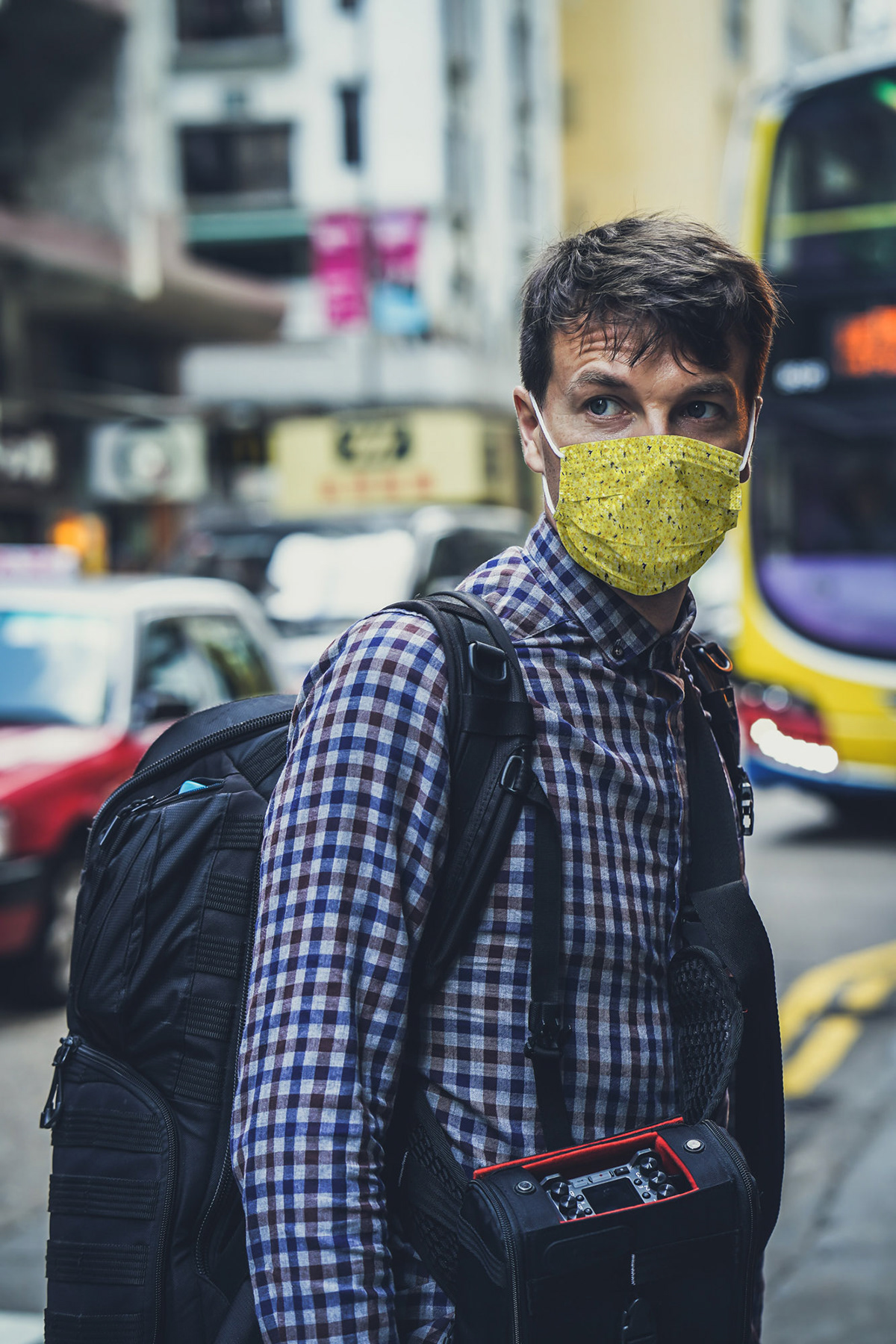 Man in Face Mask in City Free Mockup