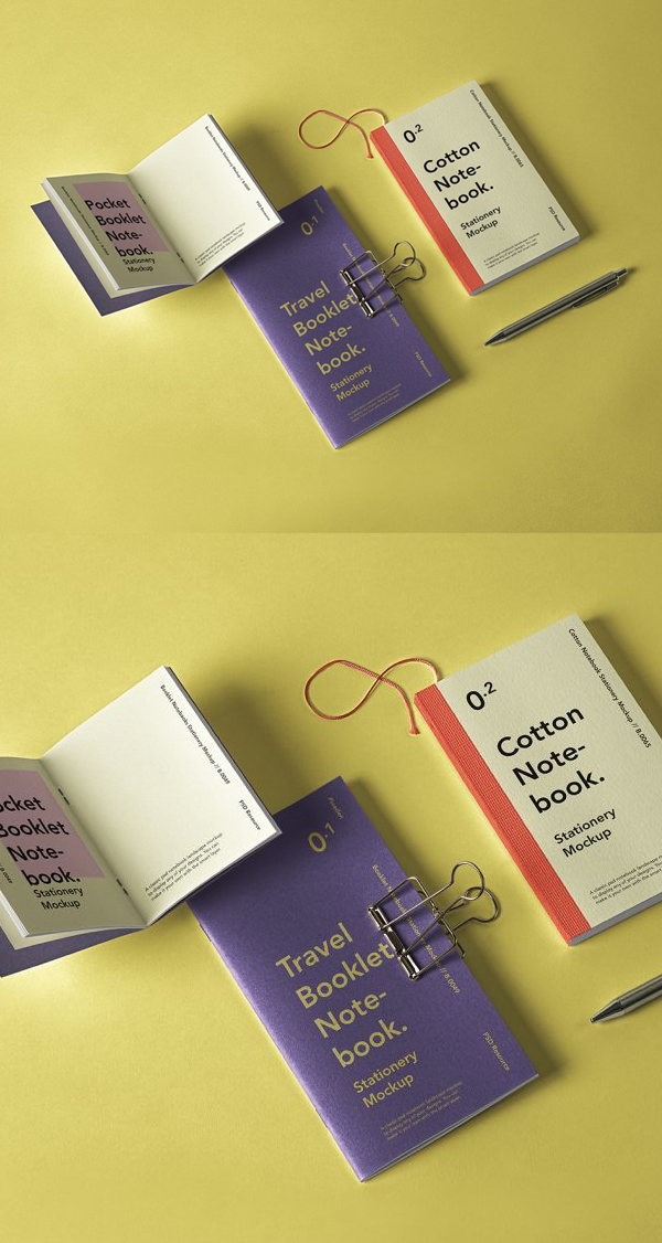 Free Booklet Notebook PSD Mockup Set