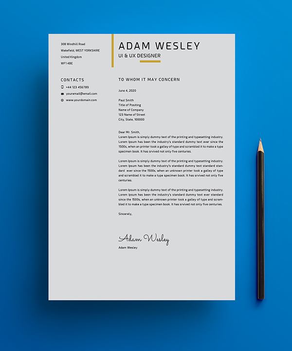 Free Simple Resume Template with Cover Letter