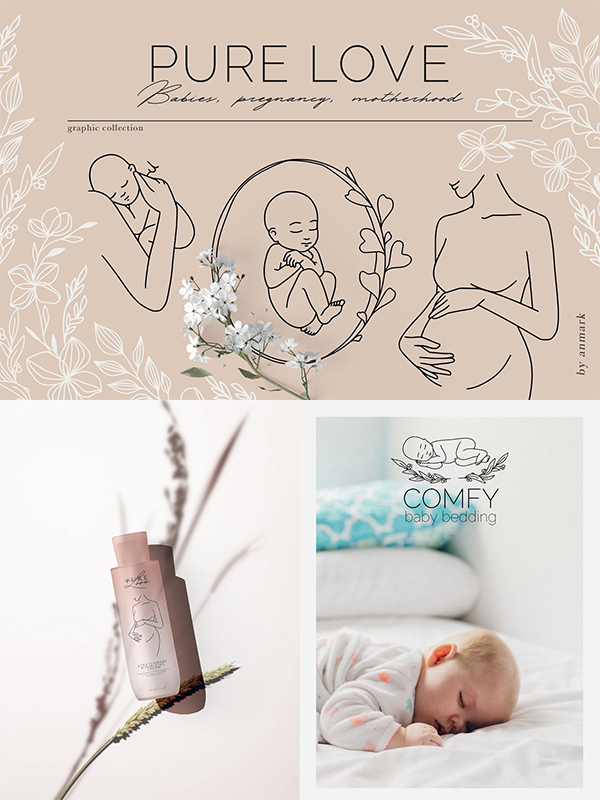 Pure Love Mom and Baby Line Art