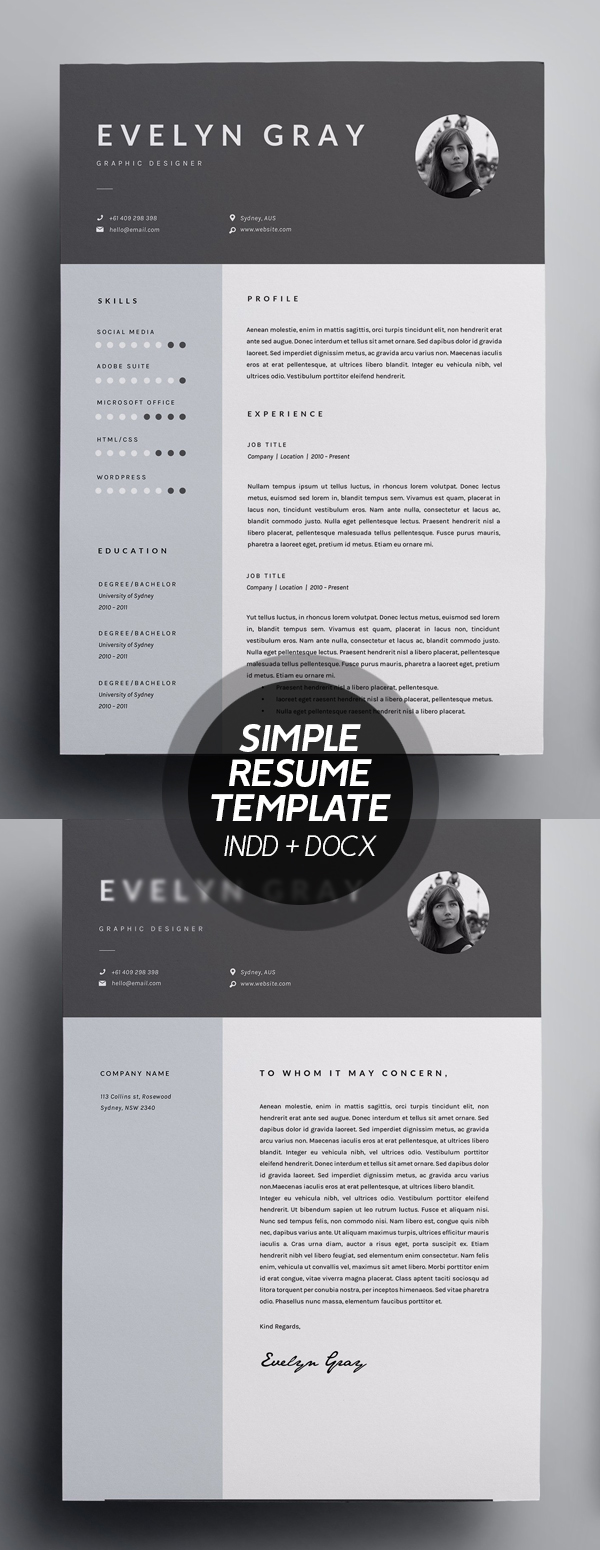 Simple 3 Page Resume Template – INDD + DOCX
