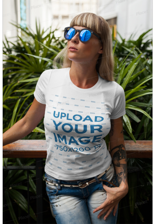 T-Shirt Mockup Featuring a Stylish Tattooed Woman