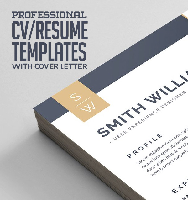 21 Professional CV / Resume Templates with Matching Cover Letter