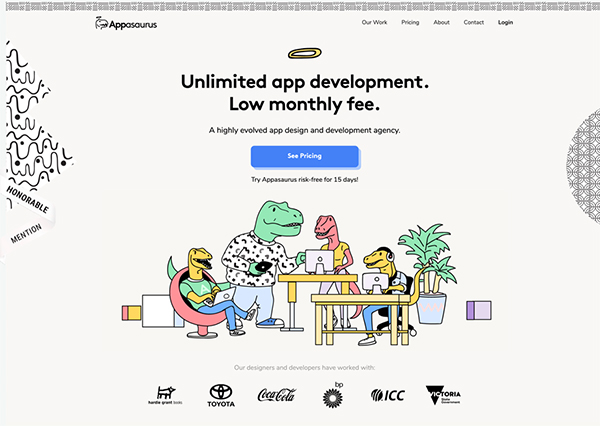Appasaurus - Illustation in Website Design