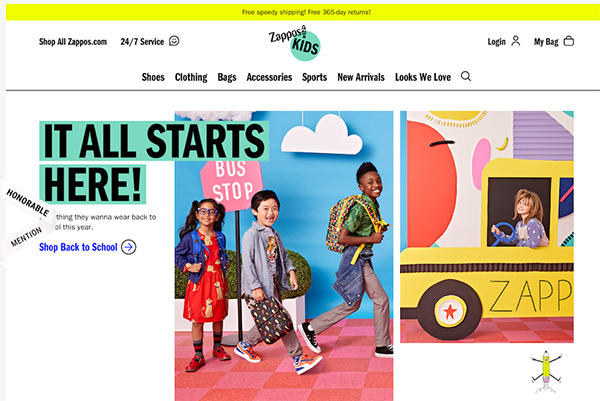 Zappos Kids - Illustation in Website Design