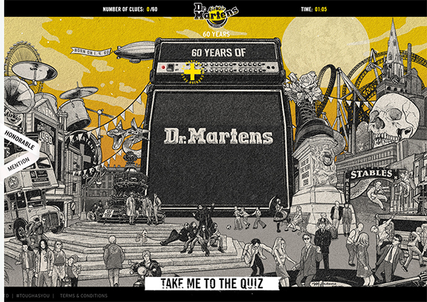 Dr Martens Unlaced - Illustation in Website Design