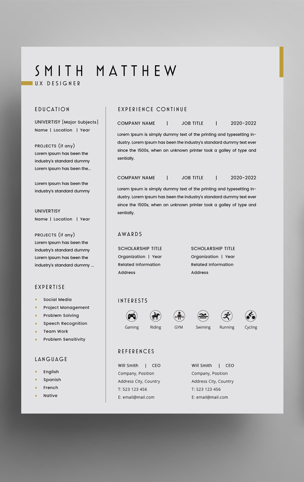 Free 2 Pages CV Resume Template + Cover Letter