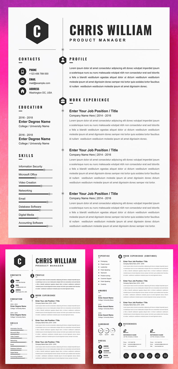 Professional Resume Template Cover