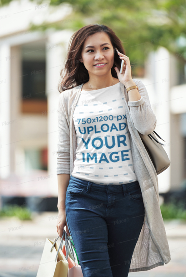 T-Shirt Mockup of A Woman Talking on The Phone