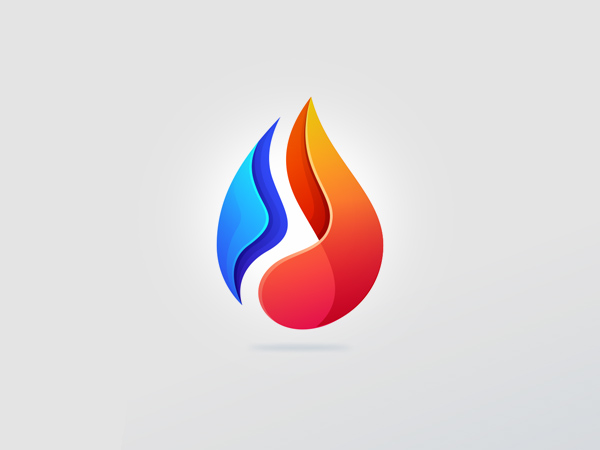 Colorful Water Fire Logo Design