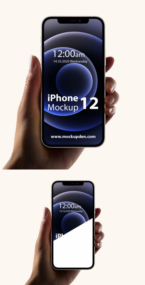 Free iPhone 12 in Hand Mockup PSD Template